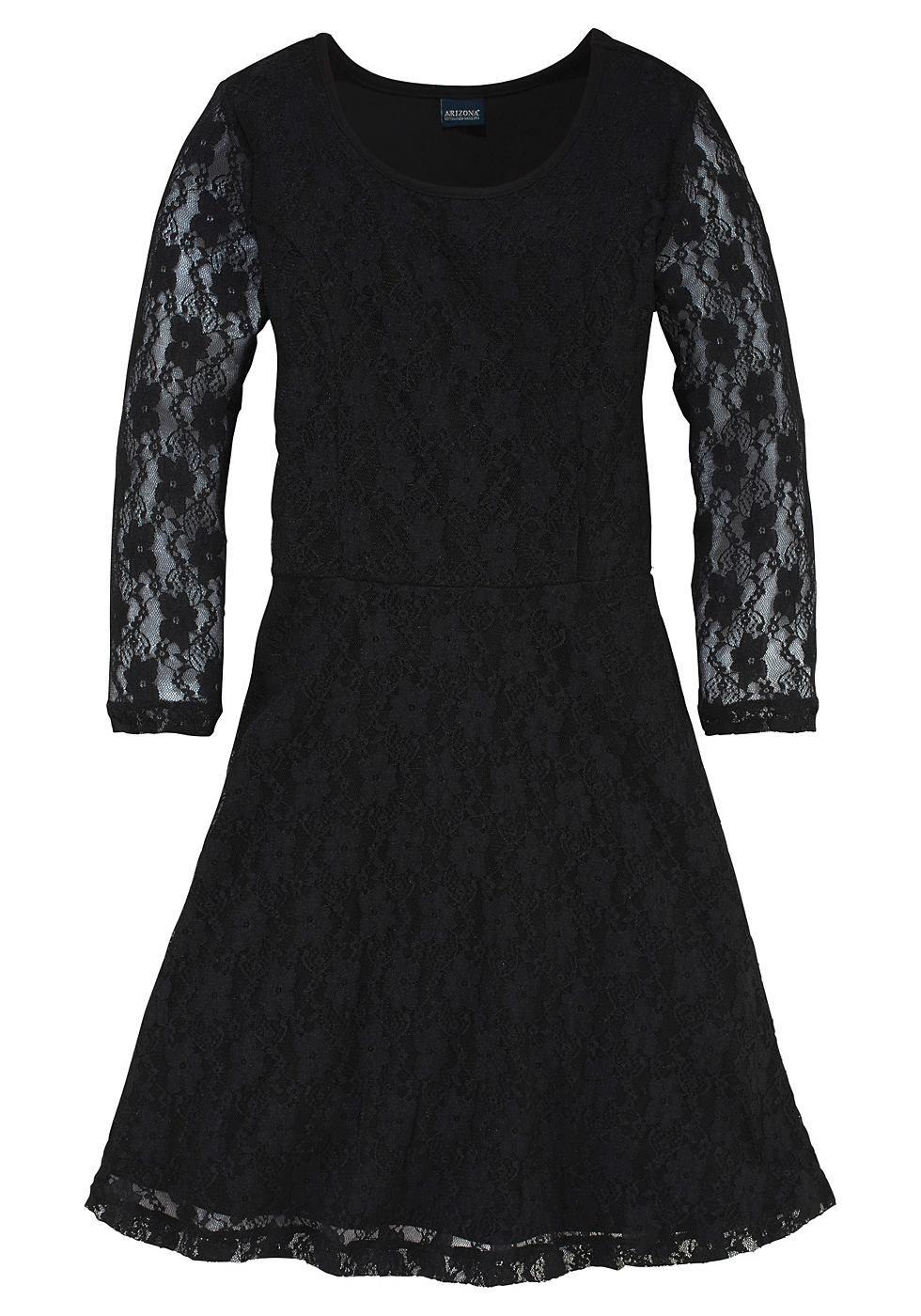 Arizona Spitzenkleid, mit 3/4 Ärmeln | Unterkleid, Farbe schwarz und ...