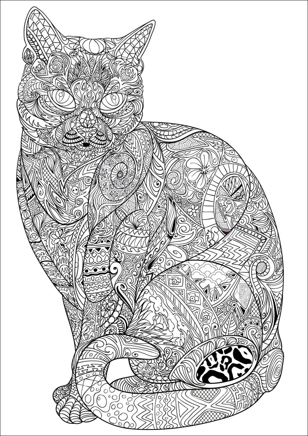 adult coloring pages cat
