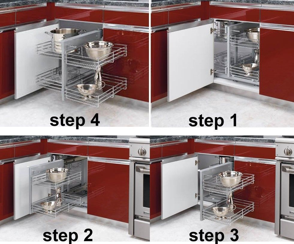 Kitchen Blind Corner Cabinet Organizer, Chrome Baskets Pullout Kitchen  Cabinet