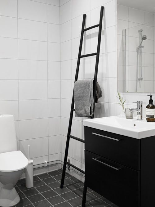 Modern Black And White Bedroom Ladder As A Towel Rack