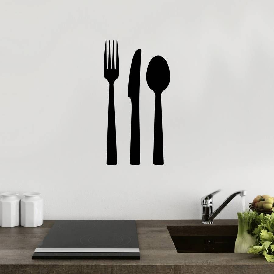 Knife Fork Spoon Cutlery Vinyl Wall Sticker | Decorative accessories ...