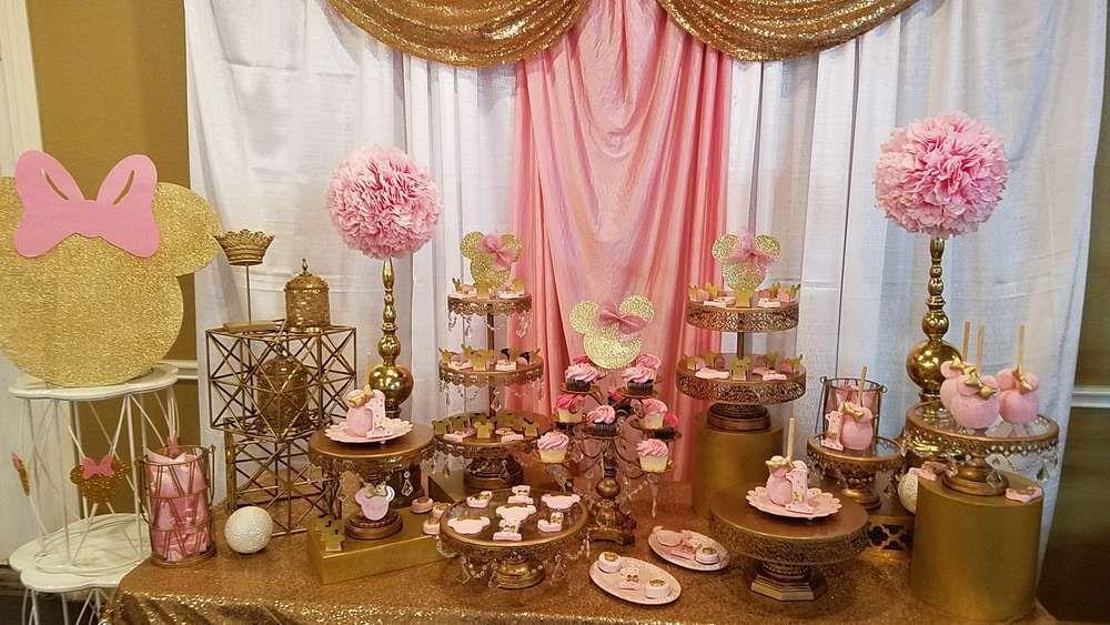 Decoracin minnie decoracion de minnie gold minnie dorada con - Decoracion fiesta rosa ...