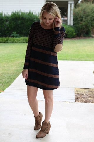 Got the Blues Elbow Patch Tunic Dress - Navy and Mocha | Hazel & Olive  Obsessed!