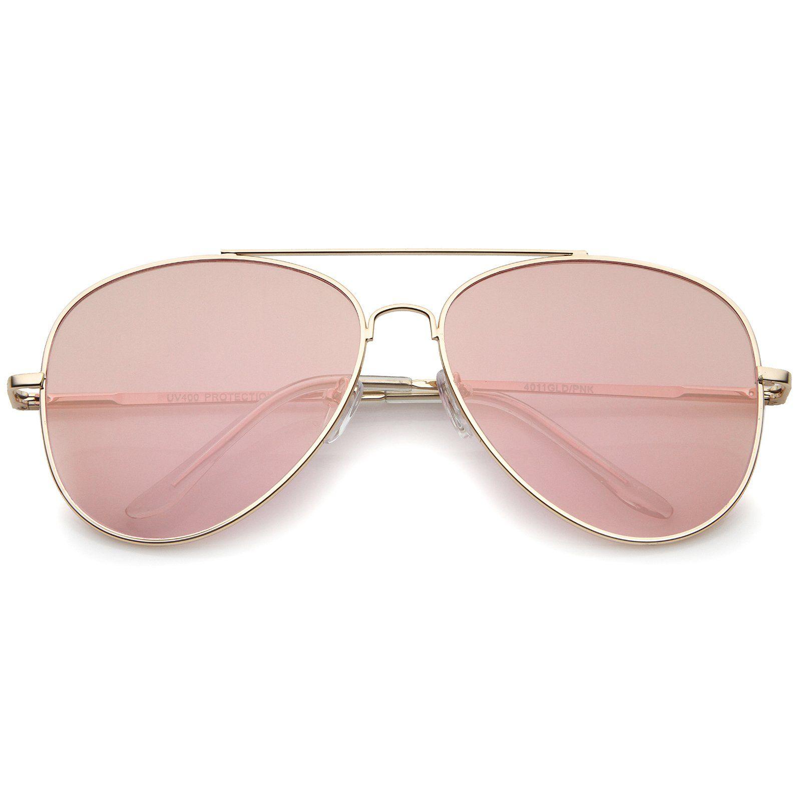 e368b1550f6 Large Metal Rose Gold Frame Pink Mirror Flat Lens Aviator Sunglasses 60mm