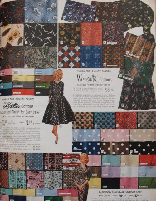 1950s Fabrics Colors In Fashion 1950s Fabric Vintage Accessories 1950s Fabric