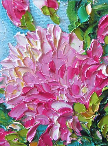 Pink impasto flower painting