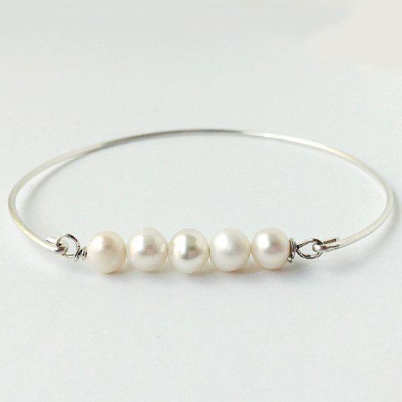 Gift Bag Pearl Bangle Bracelet White Freshwater Pearls Sterling Silver