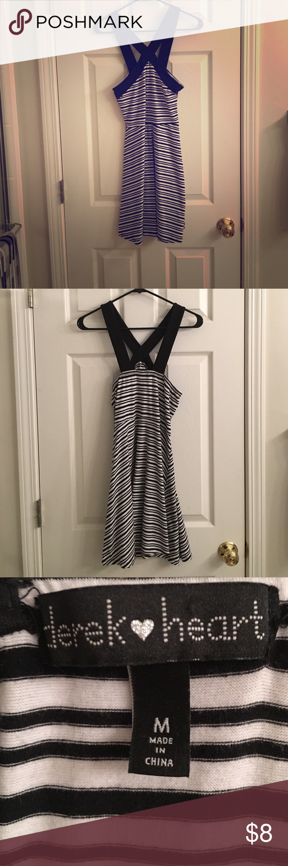 Black & White Never Worn Dress Black & White Never Worn Dress. About: Black and white striped summer dress. Very flowy with a neat strap design. Recommend to wear a strapless bra with this dress. Condition: Great. The dress has not been worn. Comes from a smoke-free home. If interested and would like more pictures do not hesitate to ask. Open to offers and bundles. No trades. Derek Heart Dresses Mini