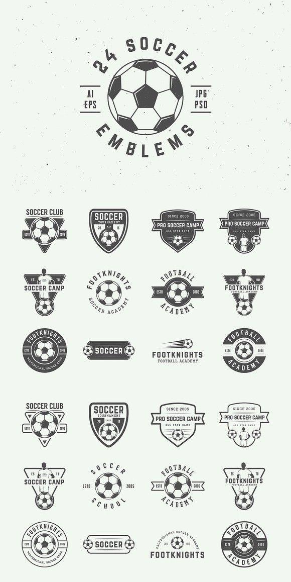 Set Of Vintage 24 Soccer Emblems Sports Logo Design Sports Logo Inspiration Football Logo Design