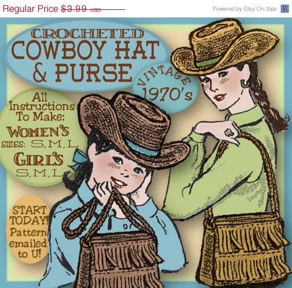 XMASinJULY Girls Western Cowboy HAT and Fringed Bag  1970s VINTAGE Crochet e-pattern Girls and Womens 3 sizes each Pdf download
