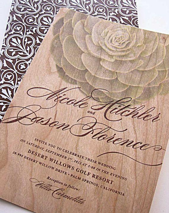 Real Wood Wedding Invitations Modern Succulent Invitation   SAMPLE SET