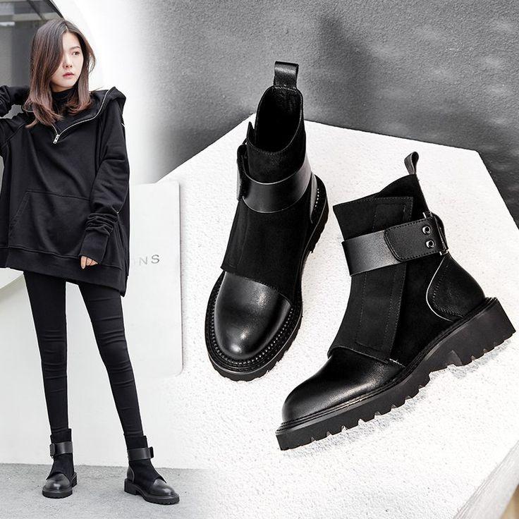 Women Chelsea Ankle Boots Winter Ladies Biker Style Boots Block Heel Girls Shoes