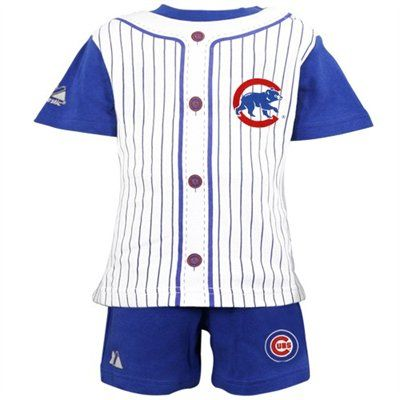save off 8f638 39675 Majestic Chicago Cubs Toddler Royal Blue Pinstripe 2-Piece ...