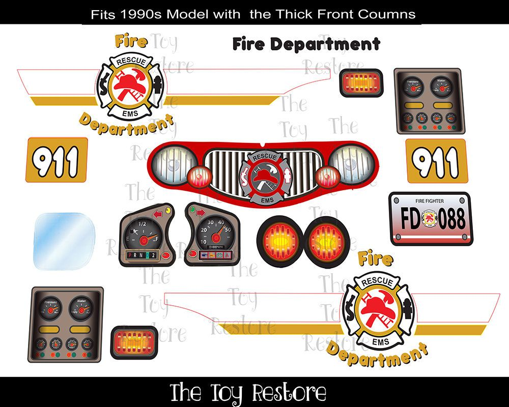 New Replacement Decals Stickers For Little Tikes Cozy Coupe Ii Fire Truck Lgset Cozy Coupe Cozy Coupe Truck Fire Trucks [ 800 x 1000 Pixel ]