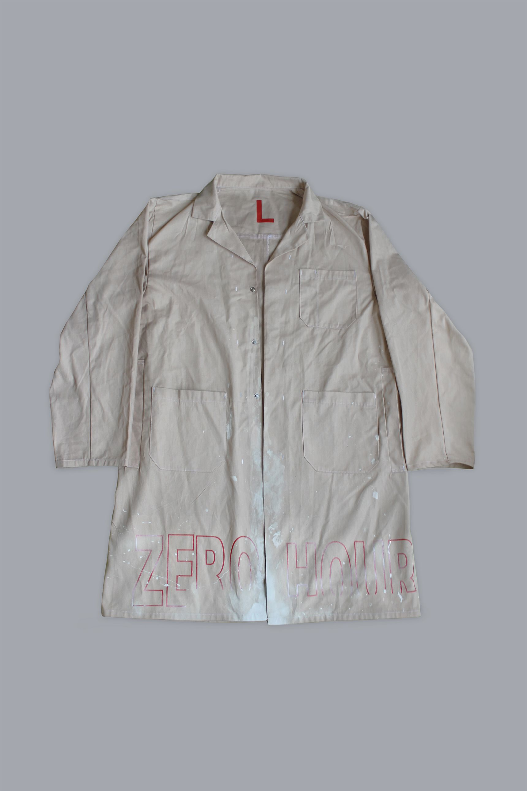 bab356e4 ACW* Zero Hours Paint Stained Warehouse Coat Beige Coat, Rain Jacket, A Cold