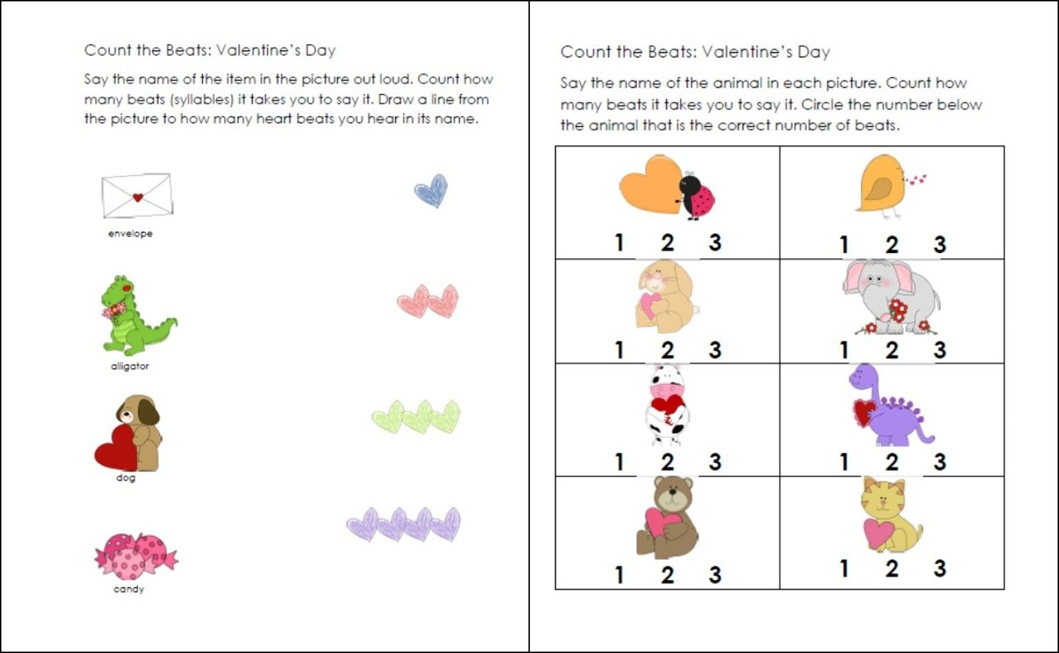 Fun Kindergarten Syllable Activities Including A Free Valentines