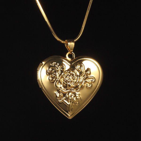 Damen Kette Gold 999 mit Medaillon Foto Amulett Herz