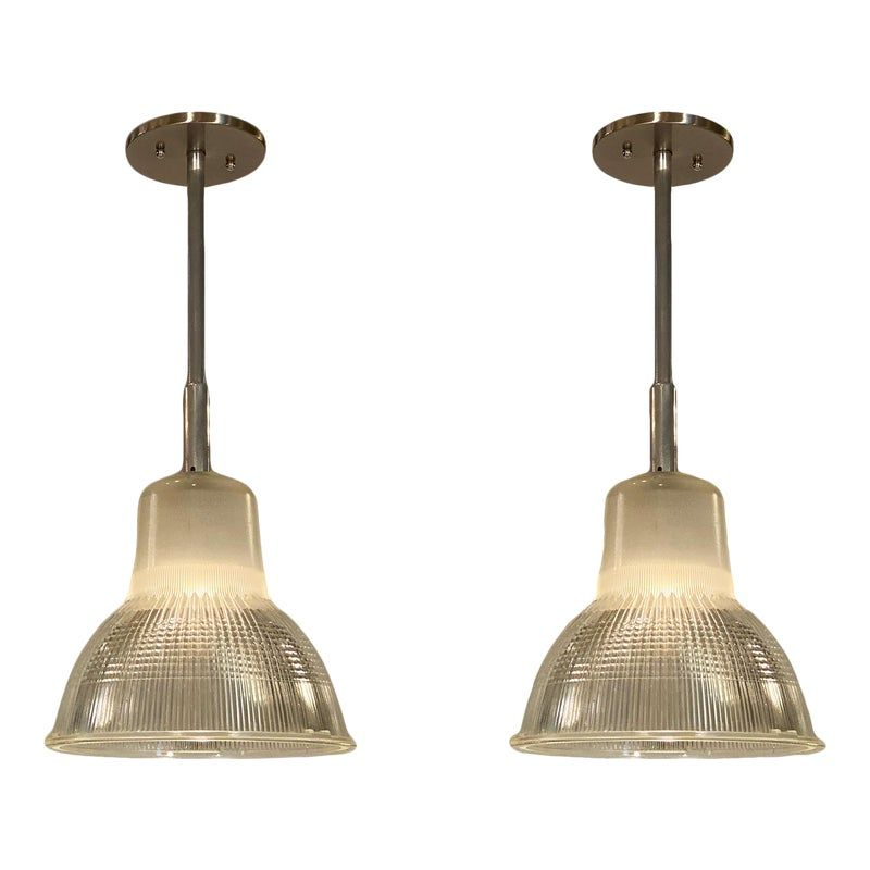 1950s French Industrial Pendant Lights - a Pair