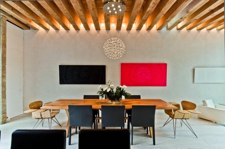 Wandgestaltung Im Esszimmer Modern Wandbilder Pink Schwarz Decke Balken Indirekt  Beleuchtung