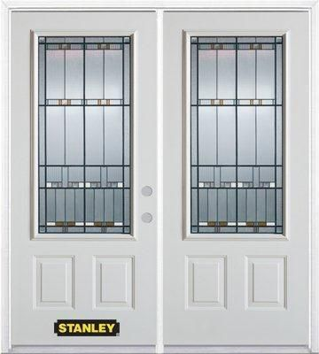 67 inch x 82.375 inch Chicago Patina 3/4 Lite 2-Panel Prefinished White Left-Hand Inswing Steel Prehung Double Door with Astragal and Brickmould