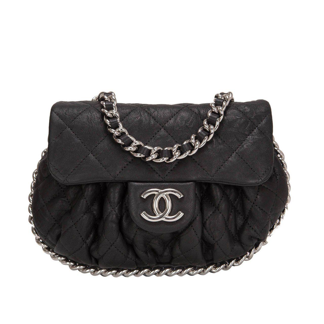 1ddc9c265129 Chanel Navy Aged Lambskin Chain Around Mini Crossbody Messenger Bag ...