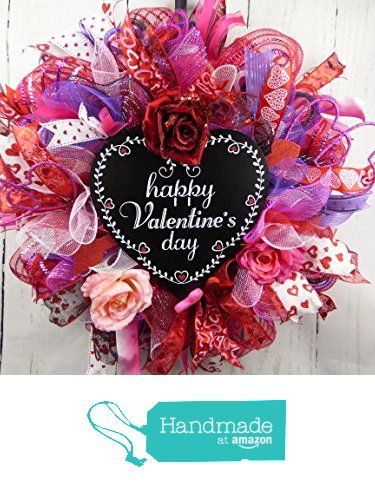 Valentines Day Wreath Purple Pink And Red Wreath Lovers Wreath