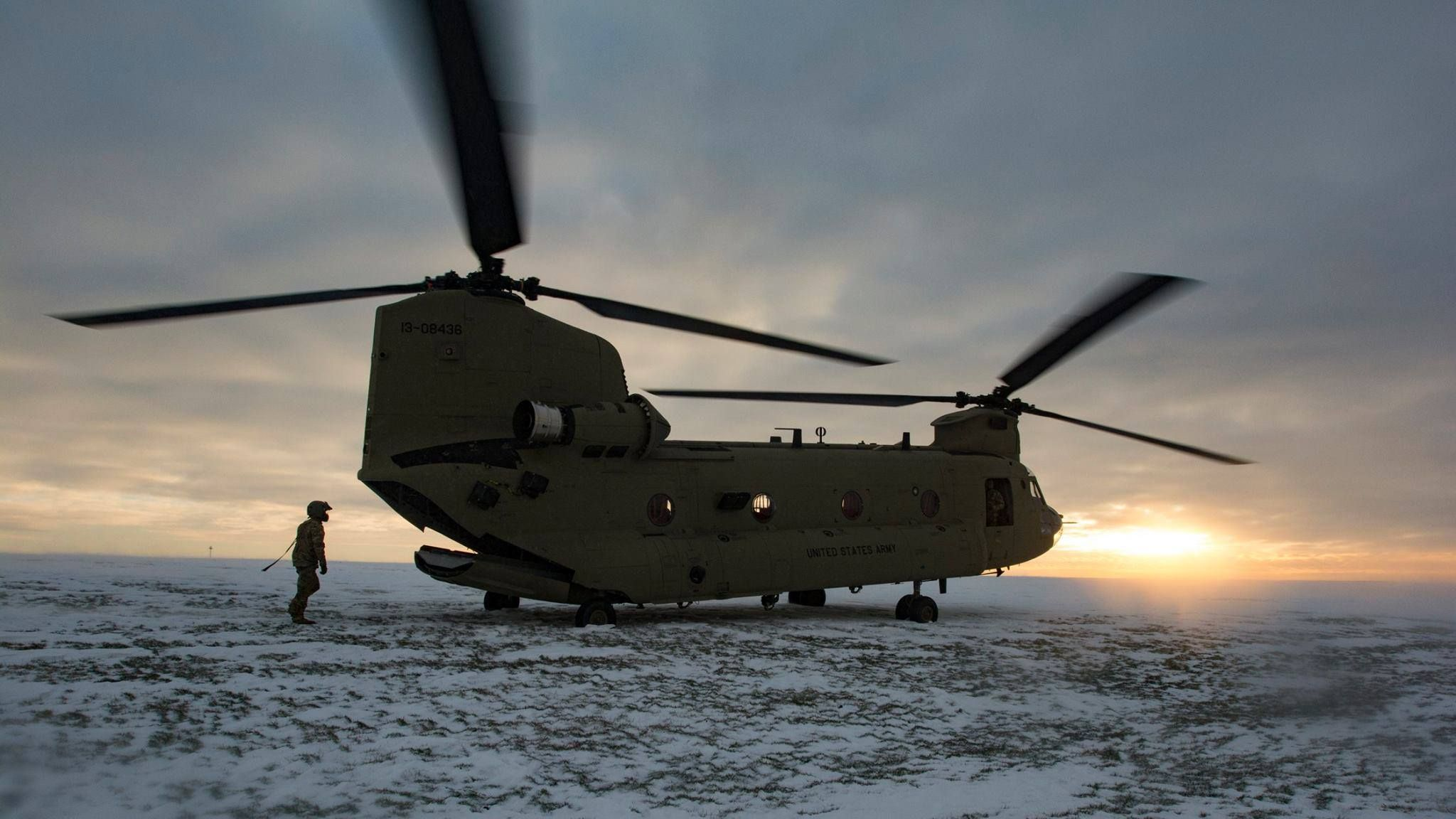 U S  Army CH-47 Chinook helicopter crew, assigned to the