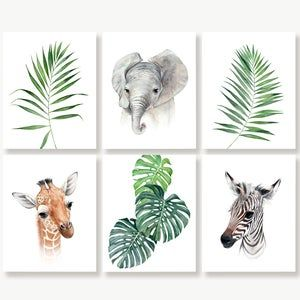 Baby Jungle Nursery Prints, Safari Jungle Animals