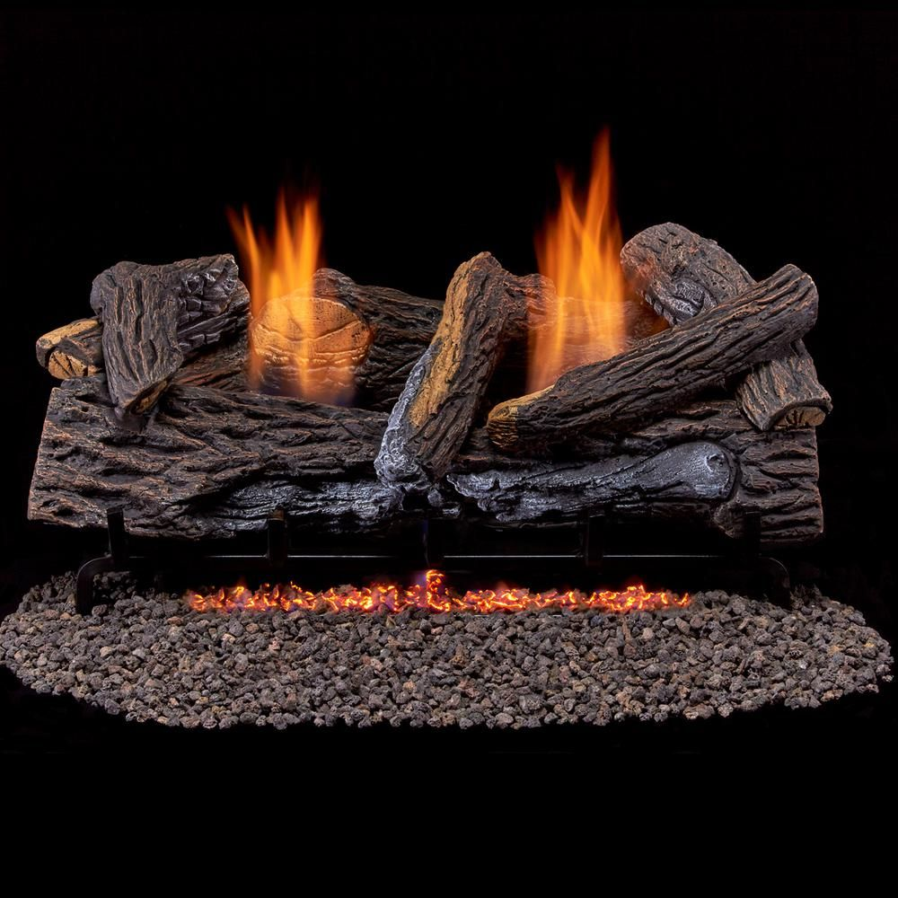 Duluth Forge Stacked Red Oak 24 In Vent Free Gas Fireplace Logs