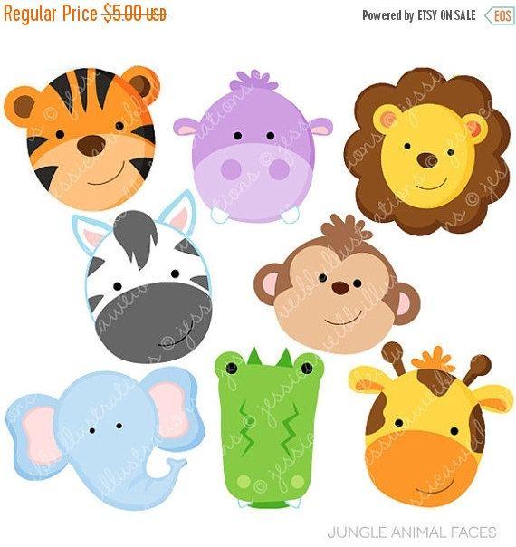 Jungle Animal Faces Cute Digital Clipart Commercial Use Ok Jungle Animal Clipart Jungle Animal Graphics Jungle Animals Animal Faces Clip Art