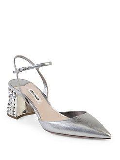 2014 cheap online outlet the cheapest Miu Miu Metallic Leather Pumps Inexpensive cheap price 6ANvA25I