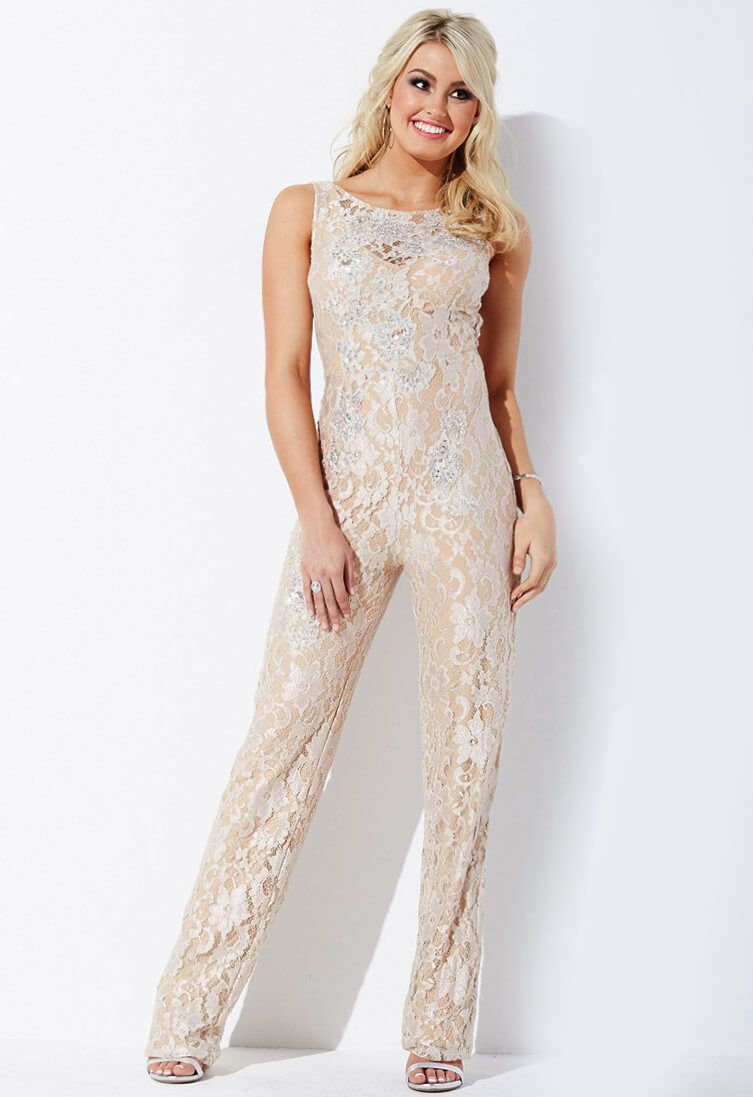 f931f2ef03a Jovani jumpsuit with sexy open back features a lace overlay and nude  underlay