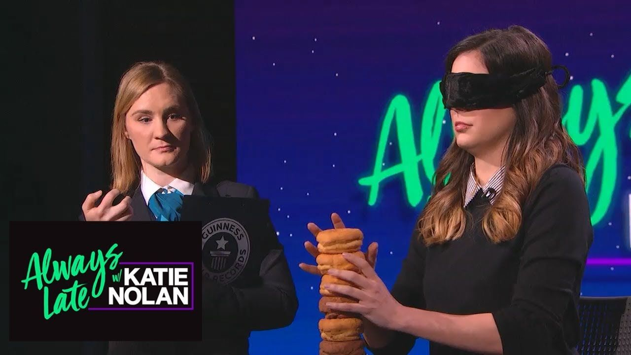 a7c405903 Katie Nolan stacks doughnuts blindfolded for Guinness World Record | Always  Late with Katie Nolan
