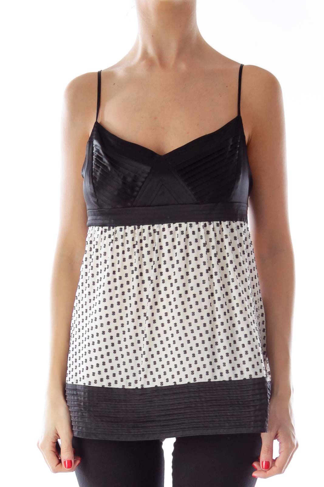 Like this BCBG MAXAZRIA? Shop this without using money! Trade. Shop. Discover. #fashionexchange #prelovedfashion  Black & White Polka Dot Cami Top by BCBG MAXAZRIA