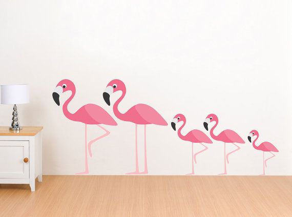 Flamingo family wall decals reusable wall stickers - Stickers flamant rose ...