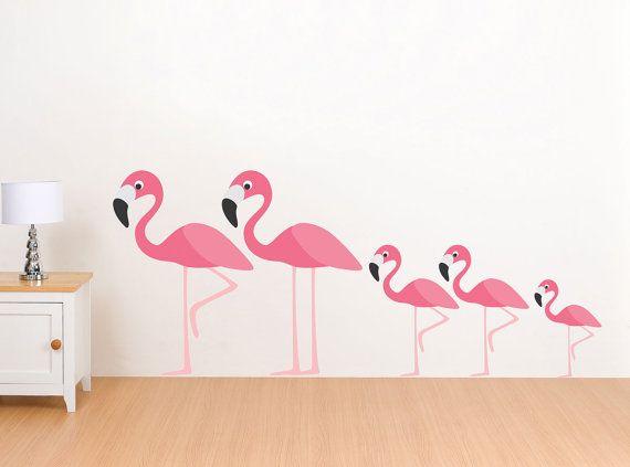 Articles similaires à flamant rose famille wall decals réutilisable stickers muraux pièce de stickers 5 mur chambre denfant sur etsy