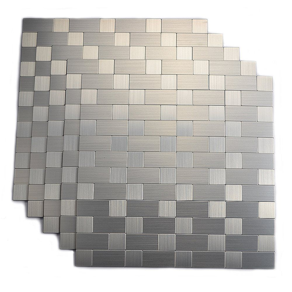 Amazon Com Aluminum Peel And Stick Backsplash For Kitchen No Grout Strong Adhesive Wall Tiles Stick On Wall Tiles Metallic Wall Tiles Stick Tile Backsplash