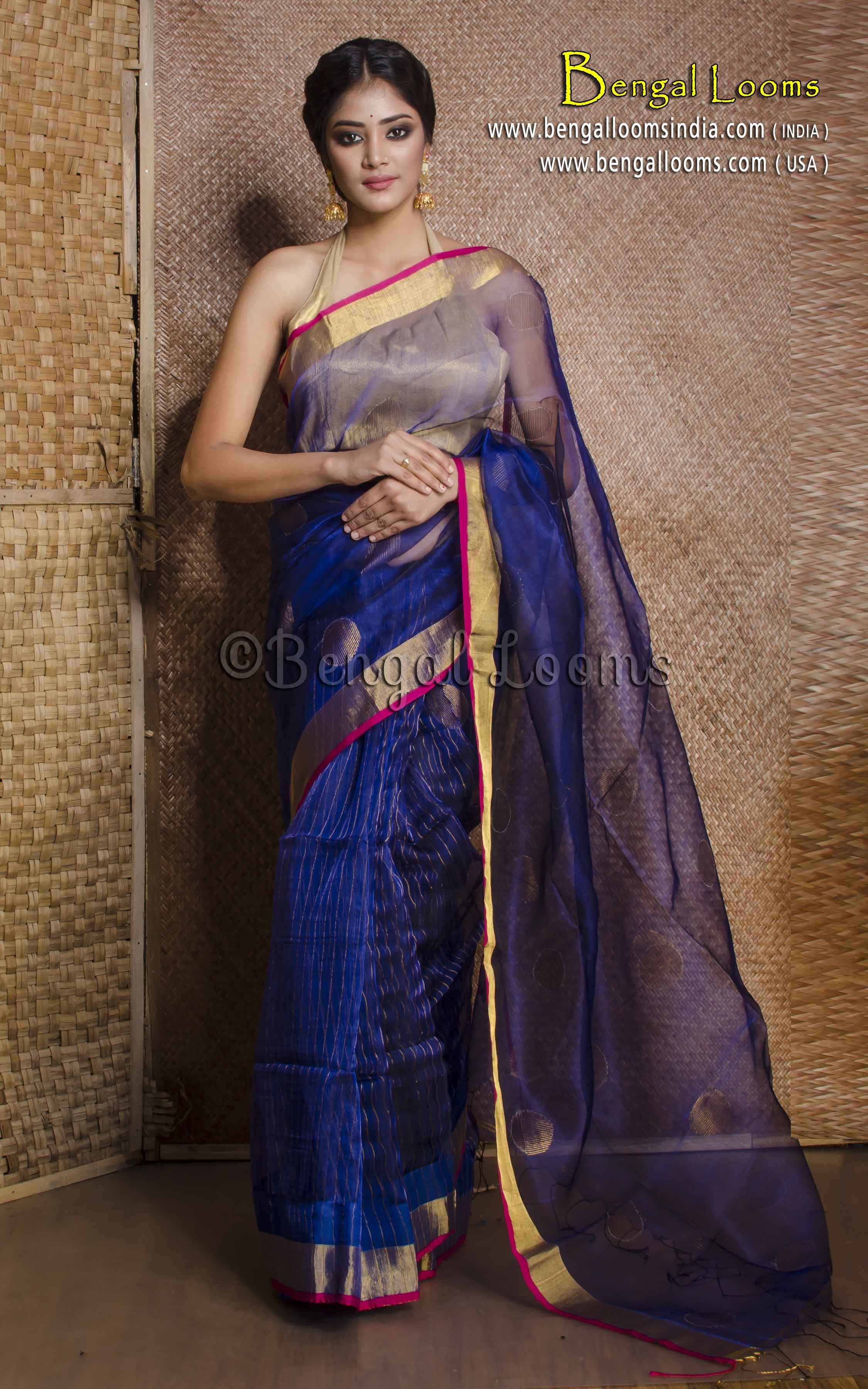 1fa8c45c8a1ed Pure Khadi Resham Silk Saree in Dark Blue and Gold