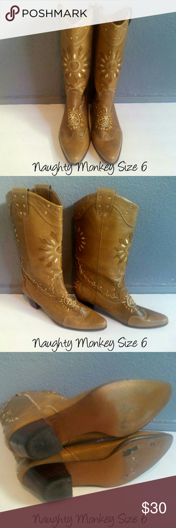 Naughty Monkey Cowgirl Boots Gently worn, flaw shown in