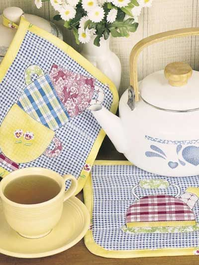 Tea Cup Potholders | Costura | Pinterest | Nähideen, Applikationen ...
