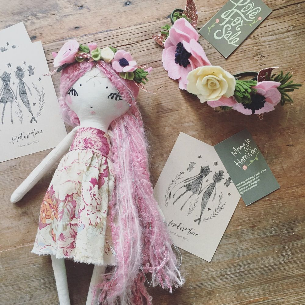 Sold For 175 Pink Pixie Doll Love For Sale Flower Crown Doll