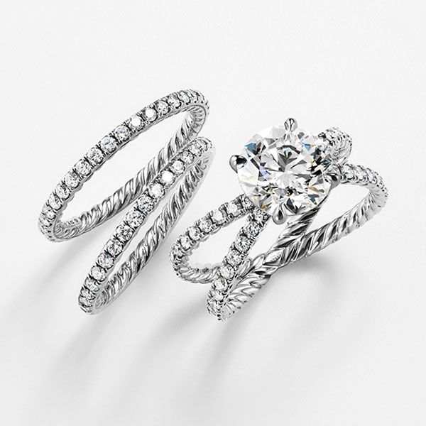 Diamond And Platinum Wedding Bands With The Dy Crossover Engagement Ring