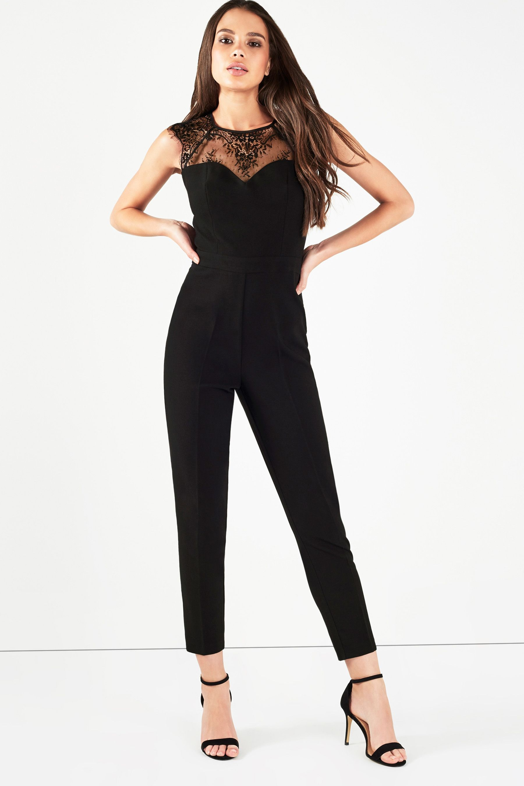 790ea931ca21 Womens Lipsy Lace Insert Sweetheart Jumpsuit - Black