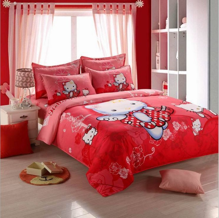 Details About New Hello Kitty Bedding Sets 4pc Kids Duvet Cover