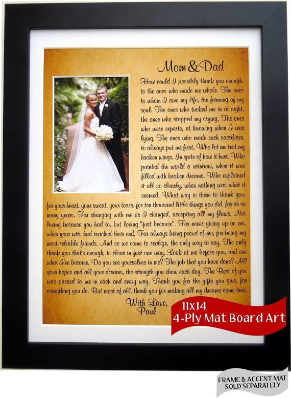 Parent Wedding Gift Personalized Thank You For Mom Dad Parents Of Bride Groom Father Mother Unique Custom Poem Art