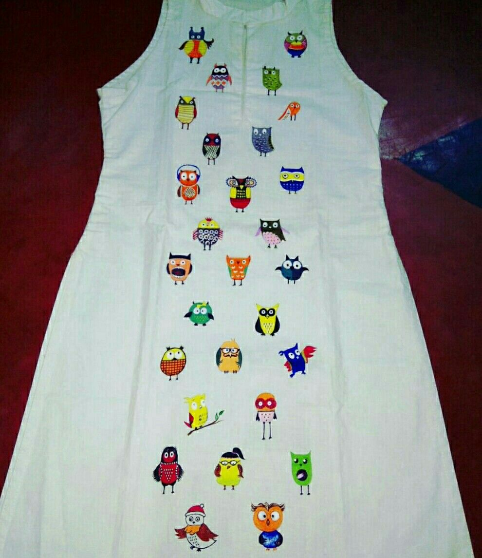 White colour, full of colors, vribent, love for owl, sleeveless ... for Fabric Painting Designs On White Kurtis  270bof