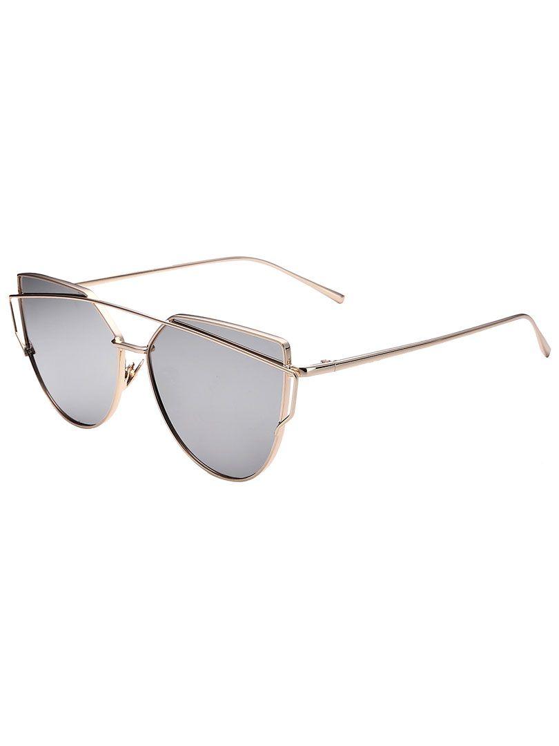 9f54954c06b2 Silver Double High Bar Detail Mirror Tinted Cat Eye Sunglasses ...