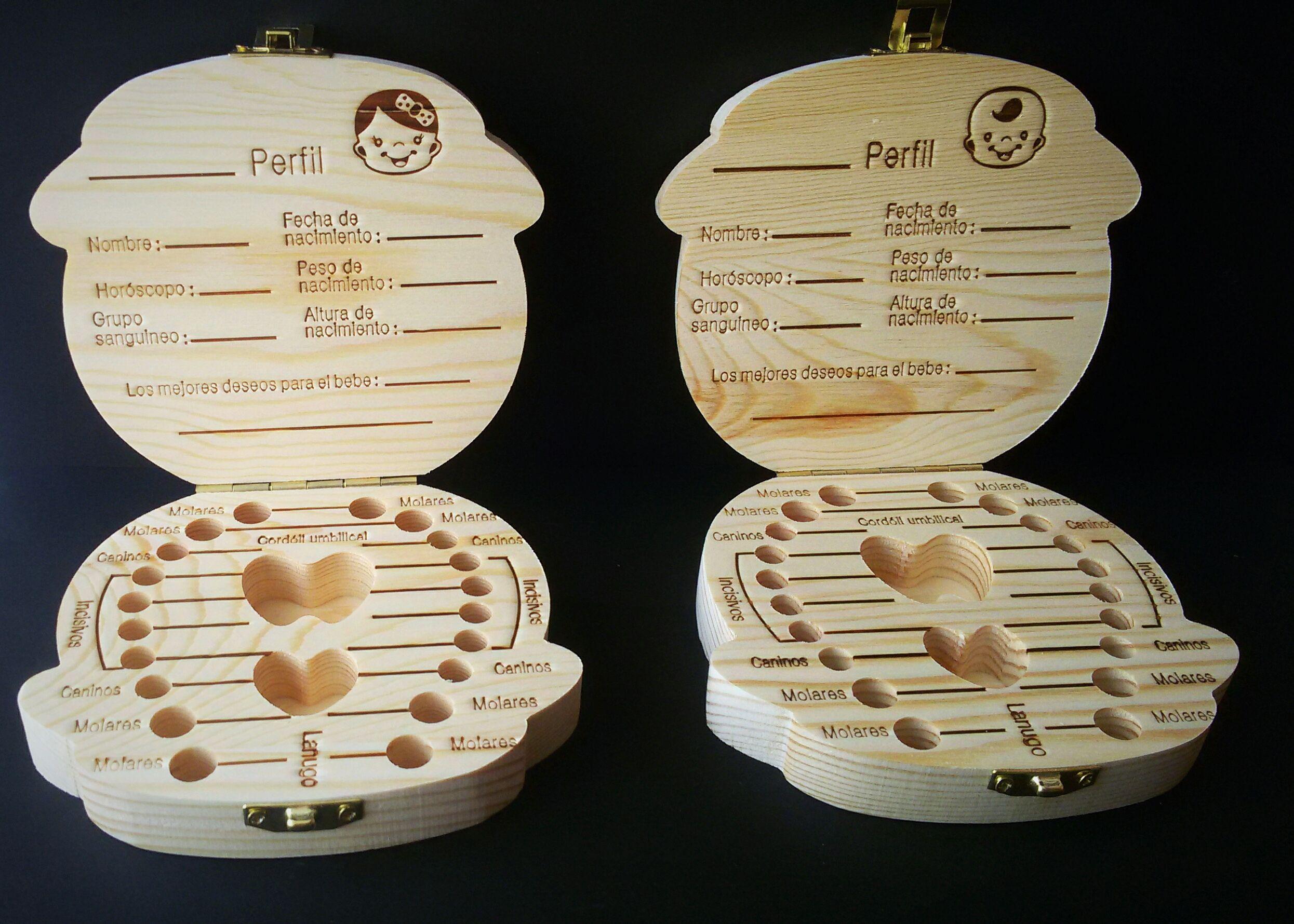guardar en madera organizador de caja de dientes de beb/é Bolsa de hada de los dientes Lanugo umbilical almacenamiento de dientes de leche