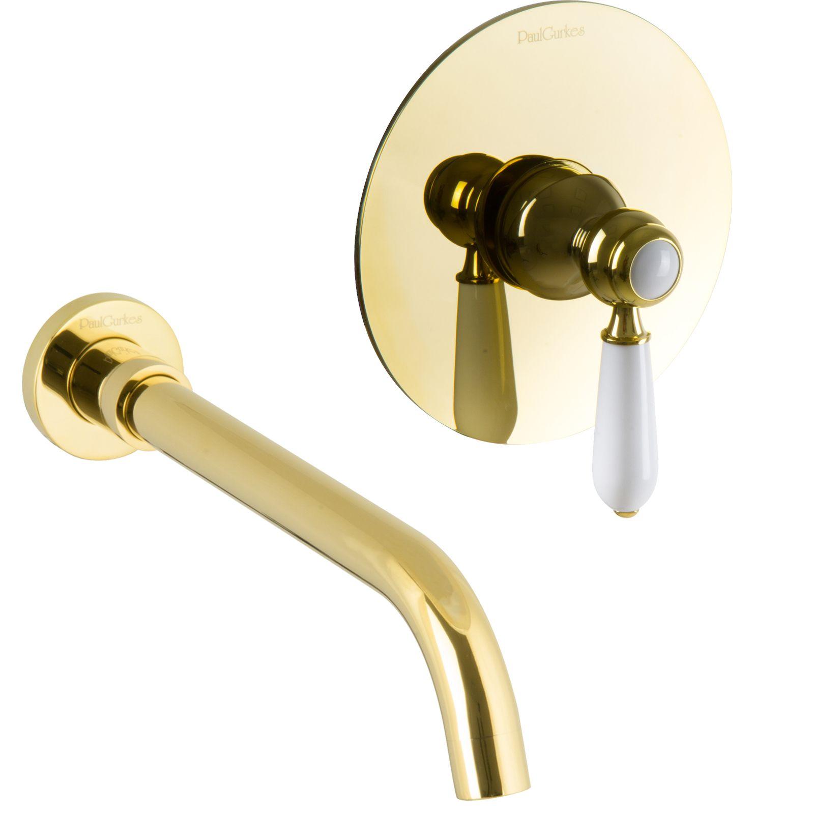Waschtisch Armatur Gold 2 Loch Unterputz Einhandmischer Nostalgie