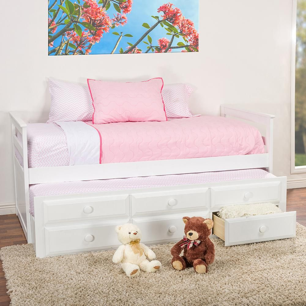 Didrika Contemporary White Finish Wood Twin Size Trundle Bed